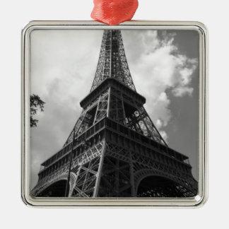 Schwarzer u. weißer Eiffelturm in Paris Silbernes Ornament