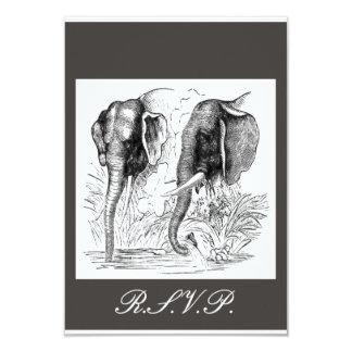 Schwarzer u. weißer Elefant-Hochzeit 8,9 X 12,7 Cm Einladungskarte