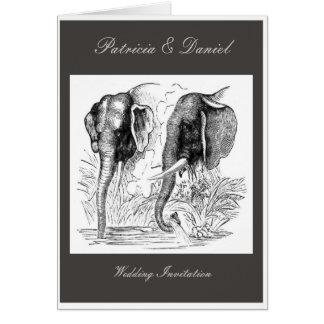 Schwarzer u. weißer Elefant-Hochzeit Grußkarte