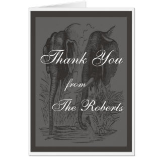 Schwarzer u. weißer Elefant-Hochzeit Mitteilungskarte