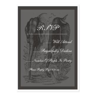 Schwarzer u. weißer Elefant-Hochzeit Mini-Visitenkarten