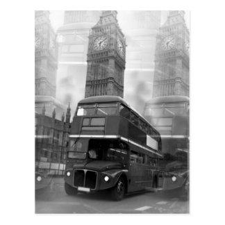 Schwarzer u. weißer London-Bus BWs u. Big Ben Postkarte