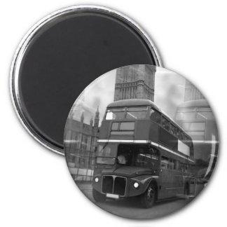Schwarzer u. weißer London-Bus BWs u. Big Ben Runder Magnet 5,1 Cm