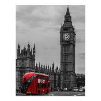 Schwarzer u. weißer London-roter Bus BWs u. Big Postkarte