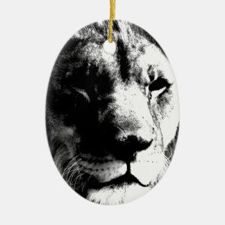 Schwarzer u. weißer Löwe Keramik Ornament