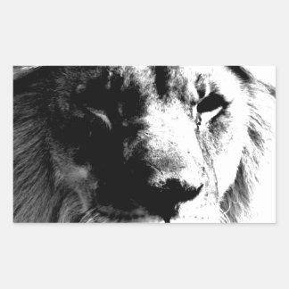Schwarzer u. weißer Löwe Rechteckiger Aufkleber