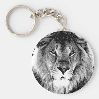 Schwarzer u. weißer Löwe Schlüsselanhänger