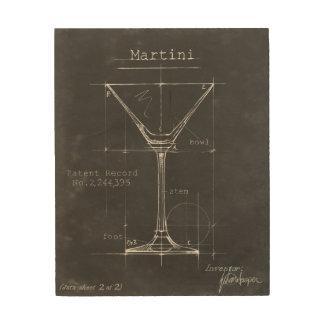 Schwarzer u. weißer Martini-Glas-Plan Holzwanddeko