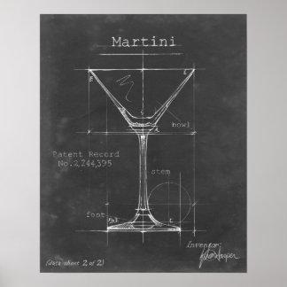 Schwarzer u. weißer Martini-Glas-Plan Poster