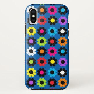 Schwarzer u. weißer MehrfarbenBlumen-Power iPhone X Hülle