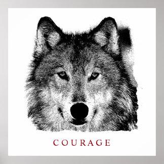 Schwarzer u. weißer motivierend Mut-Wolf Poster