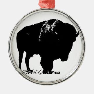 Schwarzer u. weißer Pop-Kunst-Bison-Büffel Silbernes Ornament