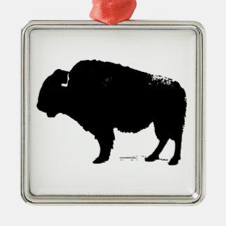 Schwarzer u. weißer Pop-Kunst-Büffel-Bison Silbernes Ornament
