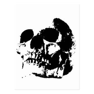Schwarzer u. weißer Pop-Kunst-Schädel Postkarte