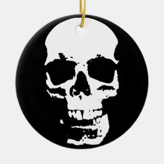 Schwarzer u. weißer Pop-Kunst-Schädel-stilvolles Keramik Ornament