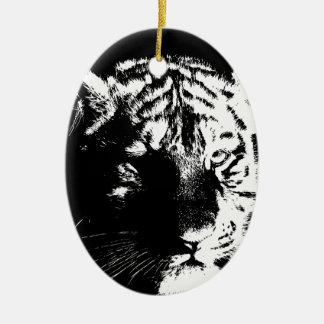 Schwarzer u. weißer Pop-Kunst-Tiger Keramik Ornament