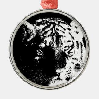 Schwarzer u. weißer Pop-Kunst-Tiger Rundes Silberfarbenes Ornament