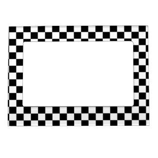 Schwarzer u. weißer Schachbrett-Hintergrund Magnetischer Bilderrahmen