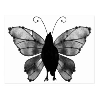 Schwarzer u. weißer Schmetterlings-Rabe Postkarte