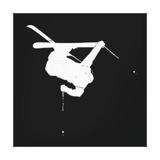 Schwarzer u. weißer Skifahrer Leinwanddruck