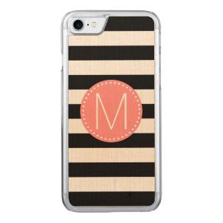 Schwarzer u. weißer Streifen mit korallenrotem Carved iPhone 8/7 Hülle