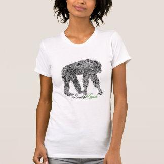 Schwarzer u. weißer verzierter Blumenaffe T-Shirt