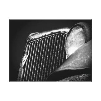 Schwarzer u. weißer Vintager Auto-Grill Leinwanddruck
