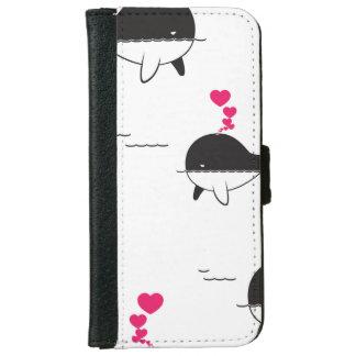 Schwarzer u. weißer Wal-Entwurf mit Herzen Geldbeutel Hülle Für Das iPhone 6/6s