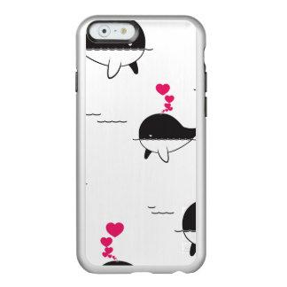 Schwarzer u. weißer Wal-Entwurf mit Herzen Incipio Feather® Shine iPhone 6 Hülle
