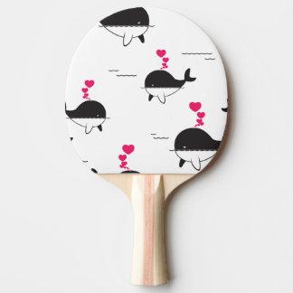 Schwarzer u. weißer Wal-Entwurf mit Herzen Tischtennis Schläger