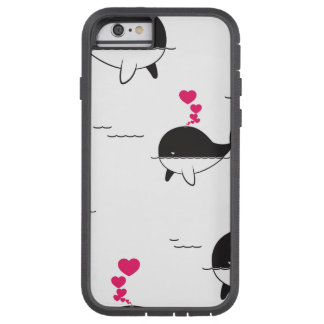 Schwarzer u. weißer Wal-Entwurf mit Herzen Tough Xtreme iPhone 6 Hülle