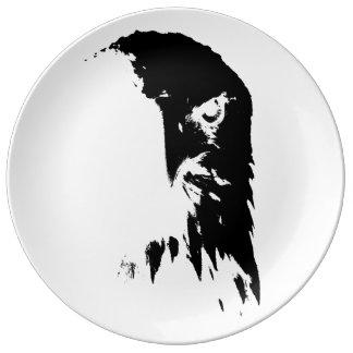Schwarzer u. weißer Weißkopfseeadler-dekorative Teller