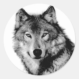 Schwarzer u. weißer Wolf Runde Aufkleber