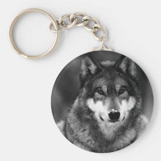 Schwarzer u. weißer Wolf Standard Runder Schlüsselanhänger