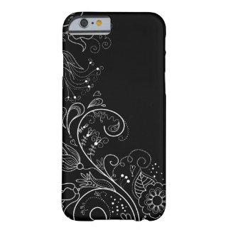 Schwarzer u. weißer wunderlicher BlumeniPhone 6 Barely There iPhone 6 Hülle