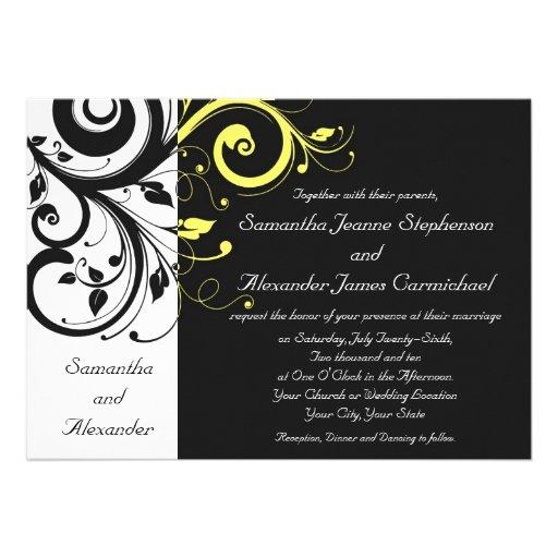 Schwarzer und gelber Rückstrudel Individuelle Einladungskarten