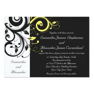 Schwarzer und gelber Rückstrudel 12,7 X 17,8 Cm Einladungskarte