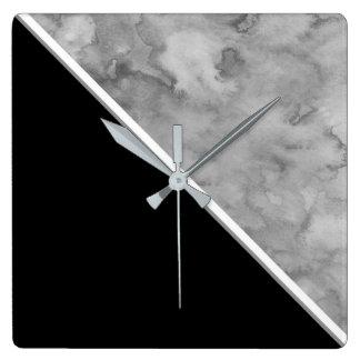 Schwarzer und grauer Farbblock Quadratische Wanduhr
