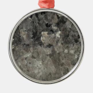 Schwarzer und grauer Marmor Rundes Silberfarbenes Ornament