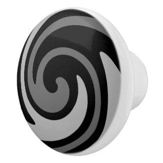 Schwarzer und grauer moderner abstrakter Strudel Keramikknauf