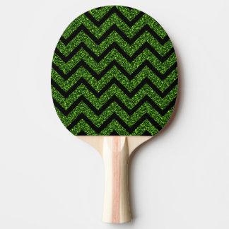 Schwarzer und grüner Glitter-Zickzack Tischtennis Schläger