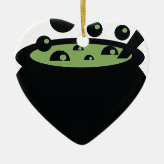 Schwarzer und grüner kochender Topf Keramik Herz-Ornament