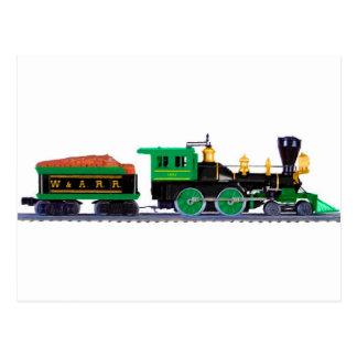 Schwarzer und grüner Zug Postkarte