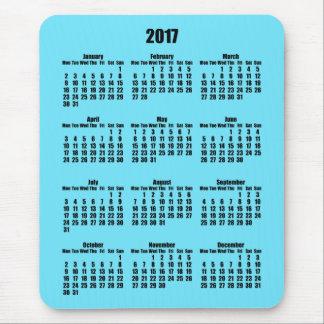 Schwarzer und heller Kalender des Azurblau-2017 Mousepad