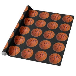 Schwarzer und orange Korb-Ball Geschenkpapier