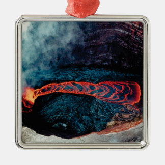 schwarzer und orange Lavafluss Silbernes Ornament