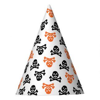 Schwarzer und orange Schädel-Party-Hut Partyhütchen