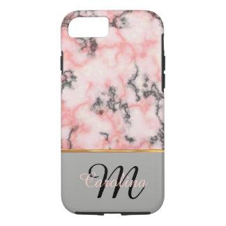 Schwarzer und rosa Marmor, Name und Monogramm iPhone 7 Hülle