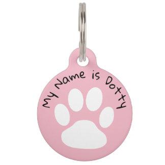 Schwarzer und rosa Namensschild und Telefonnummer Tiernamensmarke