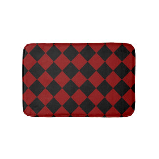 Schwarzer und roter Diamant-Schachbrett-Druck Badematte